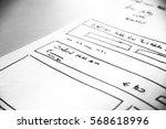 web layout sketch paper book ... | Shutterstock . vector #568618996
