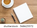 wooden desk table with notebook ... | Shutterstock . vector #568625572