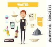 funny waiter  cute character.... | Shutterstock .eps vector #568628566