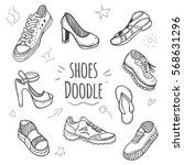 boots doodle collection. set of ... | Shutterstock .eps vector #568631296