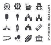 amusement park icons set | Shutterstock .eps vector #568636396