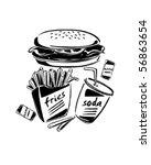 burger  fries   soda   retro... | Shutterstock .eps vector #56863654