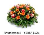funeral flower wreath ikebana... | Shutterstock . vector #568641628