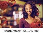 portrait of cheerful woman... | Shutterstock . vector #568642702