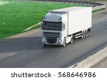 container on the big highway.... | Shutterstock . vector #568646986