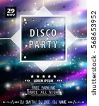 disco party poster template.... | Shutterstock .eps vector #568653952
