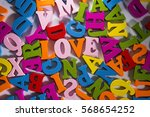 colorful wooden letters. the... | Shutterstock . vector #568654252