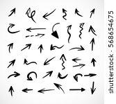 hand drawn arrows  vector set | Shutterstock .eps vector #568654675