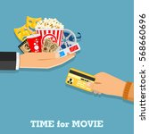 cinema and movie time concept... | Shutterstock .eps vector #568660696
