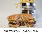 great burger and cans with... | Shutterstock . vector #568661506