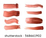 Set of bronze brush strokes of acrilic paint as sample of art product isolated on white background