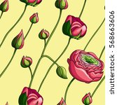 seamless floral pattern with... | Shutterstock .eps vector #568663606