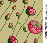 seamless floral pattern with... | Shutterstock .eps vector #568663612