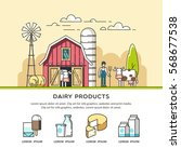 organic farm. milk and dairy... | Shutterstock .eps vector #568677538