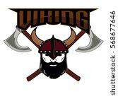 emblem viking warrior skull logo   Shutterstock .eps vector #568677646