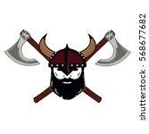 emblem viking warrior skull logo   Shutterstock .eps vector #568677682