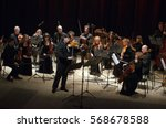 Small photo of DNIPRO, UKRAINE - JANUARY 30, 2017: Famous violinist Eugene Kostritsky and members of the FOUR SEASONS Chamber Orchestra perform at the State Drama Theatre.