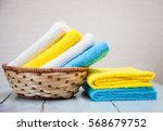 colorful cotton towels in a... | Shutterstock . vector #568679752
