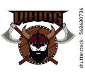 emblem viking warrior skull logo   Shutterstock .eps vector #568680736