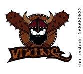 emblem viking warrior skull logo   Shutterstock .eps vector #568680832