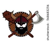 emblem viking warrior skull logo   Shutterstock .eps vector #568683256