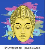 portrait of buddha on a... | Shutterstock .eps vector #568686286