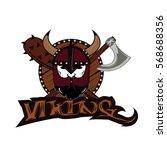 emblem viking warrior skull logo   Shutterstock .eps vector #568688356