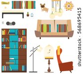 set of room objects in the... | Shutterstock . vector #568695415