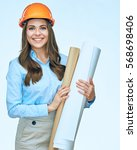 smiling business woman engineer ... | Shutterstock . vector #568698406