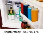 mini referegiretor in a hotel...   Shutterstock . vector #568703176