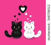 black kitten is in love with... | Shutterstock .eps vector #568708312