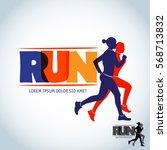 run club logo template. sport... | Shutterstock .eps vector #568713832
