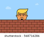 donald trump behind a brick... | Shutterstock .eps vector #568716286