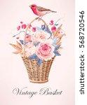 vintage basket with flowers | Shutterstock .eps vector #568720546