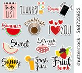 set of flat design social... | Shutterstock .eps vector #568722622