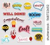 set of flat design social... | Shutterstock .eps vector #568722652