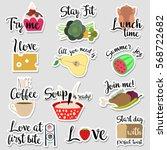 set of flat design social... | Shutterstock .eps vector #568722682