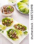 lettuce larb wraps | Shutterstock . vector #568723498