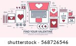love and heart. lined vector... | Shutterstock .eps vector #568726546