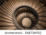 spiral circle staircase... | Shutterstock . vector #568736932