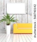 modern bright interior with... | Shutterstock . vector #568740142