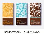 Stock vector vector set of chocolate bar package designs with modern floral patterns milk dark almond 568744666