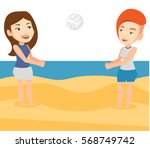 young caucasian woman playing... | Shutterstock .eps vector #568749742