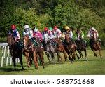 Stock photo horseracing in czechia europe traditional sport jockeys on horses 568751668