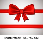realistic red ribbon bow... | Shutterstock .eps vector #568752532