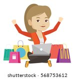 caucasian woman with hands up... | Shutterstock .eps vector #568753612