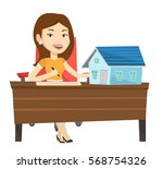 real estate agent signing home... | Shutterstock .eps vector #568754326