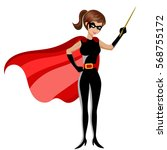 superhero woman holding stick... | Shutterstock .eps vector #568755172