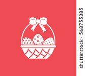 Easter Eggs In Basket Flat Icon ...