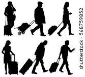 black silhouettes travelers... | Shutterstock .eps vector #568759852